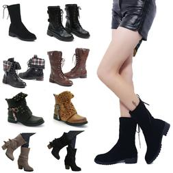 2019 Womens Military Boots Army Combat Ankle Flat Low Heel B