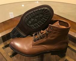 $328 Frye Tyler Cognac Brown Lace Up Leather Ankle Combat Bo