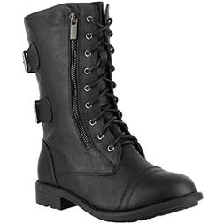 Top Moda Pack-72 Women's Mid Calf Military Lace up Combat Bo