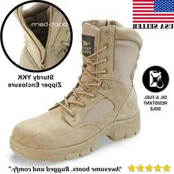 Texas Steer Mens Combat Military Tactical Work Boots Zipper