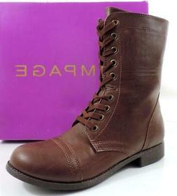 Women's Shoes Rampage JIMINY Lace-Up Combat Boots Dark Brown