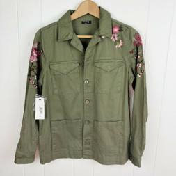 A.n.a Womens S Small Jacket Green Military Embroidered Safar