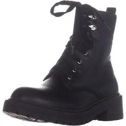 madden girl Alicee Lace Up Combat Boots, Black Paris, 8.5 US
