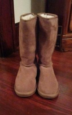 Auth.EMU Suede Boots,Wool Lining Tan/Buck. Pull On Women's/C