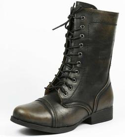 Black Burnish Cap Toe Mid Calf Lace Up Military Combat Boots