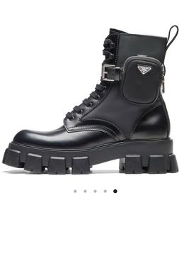Prada Black Combat Boots with pouch size 38.5 NEW
