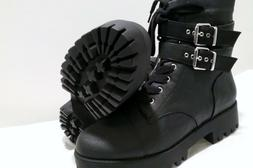 Rue21 Black Double Buckle Lace Up Side Zipper Women's Combat