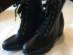 Wild Diva Black Lace Up And Zip Combat Boots Size 7 Motorcyc