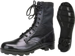 Black Leather Military Jungle Boots, Classic Panama Sole Tac