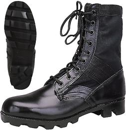 black leather military jungle boots panama sole