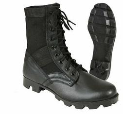 Black Leather Military Jungle Boots with Steel Toe Tactical