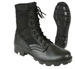 black leather military jungle boots with steel