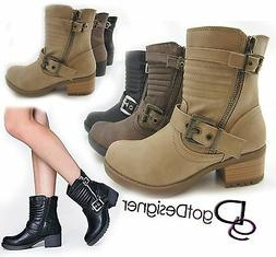 SODA Boots Womens Fashion Shoe Combat Ankle Booties Mid Calf