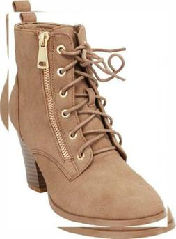 Cambridge Select Women's Lace-Up Moto Combat Chunky Stacked