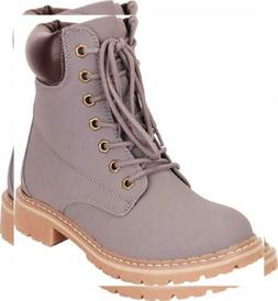 Cambridge Select Women's Work Combat Military Lace-Up Lug So