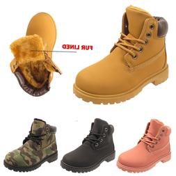 CHILDREN ANKLE BOOTS GIRLS BOYS FUR LINED KIDS ARMY COMBAT W