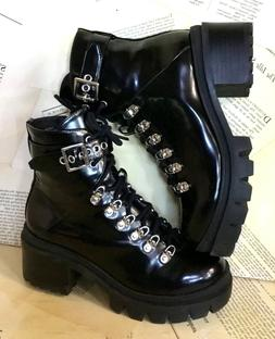 Jeffrey Campbell Combat Boot Check Lace Up Black Leather Lug