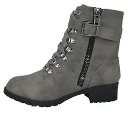 Combat Boots Buckled Soda Women Army Military Motorcycle Rid