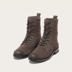 Frye Combat Boots Lace Up Brown Leather Oily Suede Lug Sole