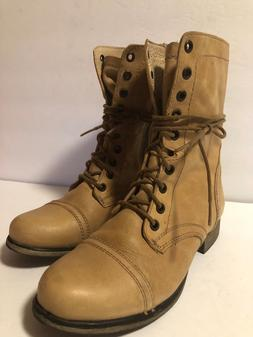 Steve Madden Combat Boots TROOPA Leather Lace-Up Military Zi