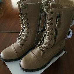 Daily Emily Mid Calf Combat Style Work Boots With Secret Hid