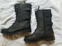 DailyShoes Women's Ankle Bootie  Military Combat Mid Calf Bo