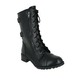 SODA DOME COMBAT BOOTS BLACK WOMENS US SIZES