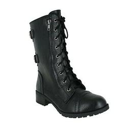 SODA Dome Mid Calf Height Women's Military/Combat Boots Blac