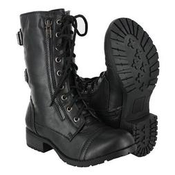 Soda Dome Mid Calf Height Women's Military Combat Boots Blac