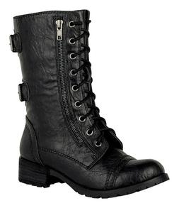 DOME Soda Women's Low Heel Lace Up Mid Calf Combat Boots Siz