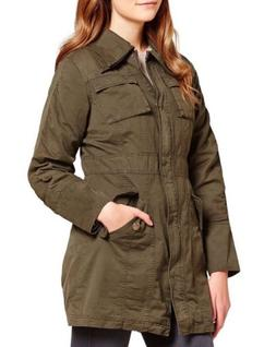 Steve Madden Double Collar Army Cotton Jacket Olive Green Si