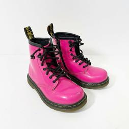 Dr. Martens Toddlers Pink Patent Leather Combat Boots Size 7