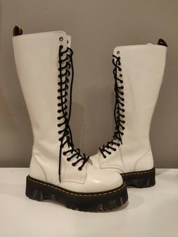 Dr. Martens woman's 20 eye Aggy style white tall platform bo