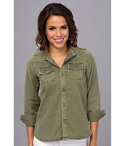 Lucky Brand Women's Embellished Shirt Jacket Olivine MD