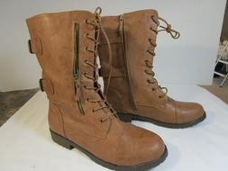 DAILYSHOES  Emily  Brown  Side-Zip Combat Boots  13   NWT