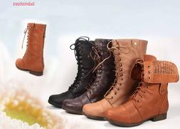 Fashion Zipper Combat Military Boots Lace Up Foldable Boots