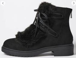FOREVER 21 FAUX FUR COMBAT BOW LACE TIE ANKLE BOOTS BOOTIES