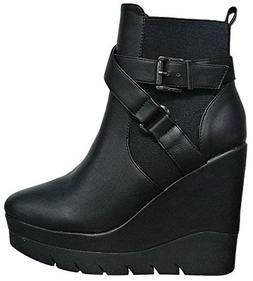Wild Diva Fiona-01 Women Ankle High Wedge Platform Closed To