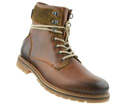 Genuine Leather Lace-Up Motorcycle Boots for Men, Men's Work