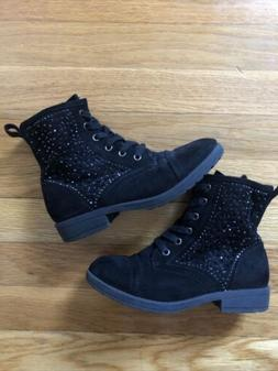 Girls Combat Boots Lace Up Side Zip Studded Boots Size 1 So
