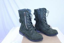 Girls Combat Boots Side Zip & Lace Up Olive Suede w/Pocket S