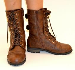 Girls kid Military Combat Lace Up Buckle Boots Zipper Roundt