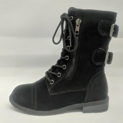 Girls Youth Kid Black Rough Suede Lace Up Zipper Military Co