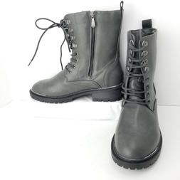 Torrid Gray Combat Boots Size 9 Wide Zip Lace Up Metal Heel
