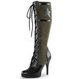 Black Green Military Army Combat Boots USO 40s Pin Up Girl C