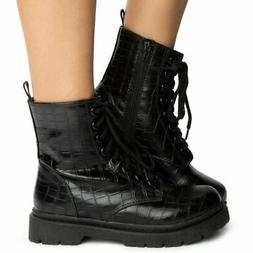 SODA Grunge Black Croco Military Lace Up Martens Combat High