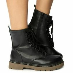 SODA Grunge Black Military Lace Up Martens Combat High Ankle