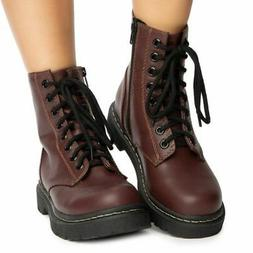 SODA Grunge Wine Combat Military Lace Up Martens Combat High