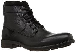 Steve Madden Men's Hardin Combat Boot, Black Leather, 12 UK