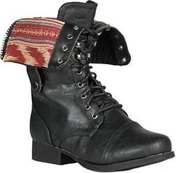 Wild Diva Women Jetta-25F Lace Up Combat Military Boots With